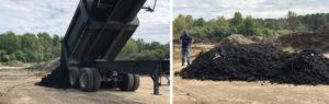 Swine lagoon sludge unloading at site (left), and sludge pile (right)